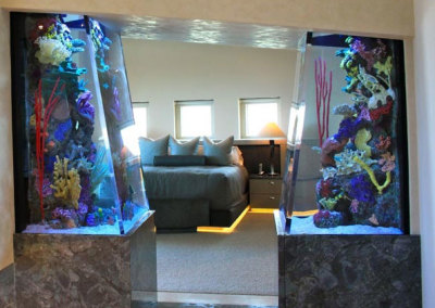 Residential 600 gallon system with artificial reef inserts,  filtration system remotely located
