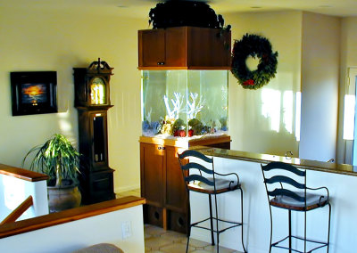 Residential 120 Gallon Walk Around Saltwater Aquarium System with Natural Coral Decorations and Concealed Filtration, Viewable from 4 Sides