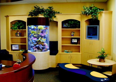Commercial 200 Gallon Custom Cylindrical Saltwater Aquarium System with Artificial Reef Display, NCCSC