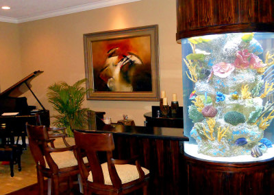 Residential 170 Gallon Custom Cylindrical Saltwater Aquarium System with Artificial Reef Display